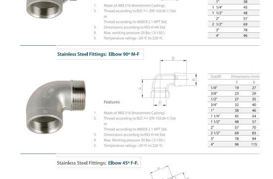 انواع زانویی استیل رزوه ای و چپقی | سفارش اتصالات زانویی 45 و 90 و اتصالات لوله